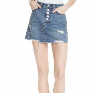 Free People Distressed ripped denim mini skirt 26
